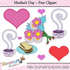 "Mothers Day Free: Mothers Day Free clip art setYou will get:- a purple heart;- a red heart;- a pink heart;- toast on a plate;- a slice of toast;- a bunch of flowers straight from the garden;- a cup of hot coffee with ""mom"" written on it &- a cup of hot coffee with ""mum"" written on itYou will get 3 copies of each image (22 images in total) in the following formats: black and white; colored with colored outlines and colored with black outlines.All images are in PNG format and are 300dpi.You ma..."