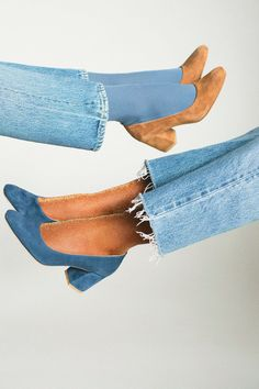 Maryam Nassir Zadeh Denim  & Whiskey Suede Maryam Pump