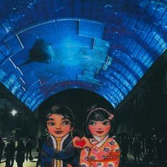 Mei+Kenji at Vivid Light Festival 2 Artprint Romantic, Culture, Adventure, Art Prints, Creative, Movie Posters, Painting, Character, Design