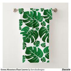 Shop Green Monstera Plant Leaves Bath Towel Set created by lesrubadesigns. Bath Towel Sets, Bath Towels, Green Gifts, Plant Leaves, Monstera Leaves, Leaf Art, Bath Decor, Washing Clothes, Print Design