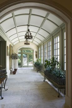 Conservatory with olive green trim & coffered barrel vault ceiling - Griffiths Construction INC.