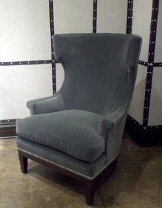 Wing Chair - Also, notice wall treatment with nailheads