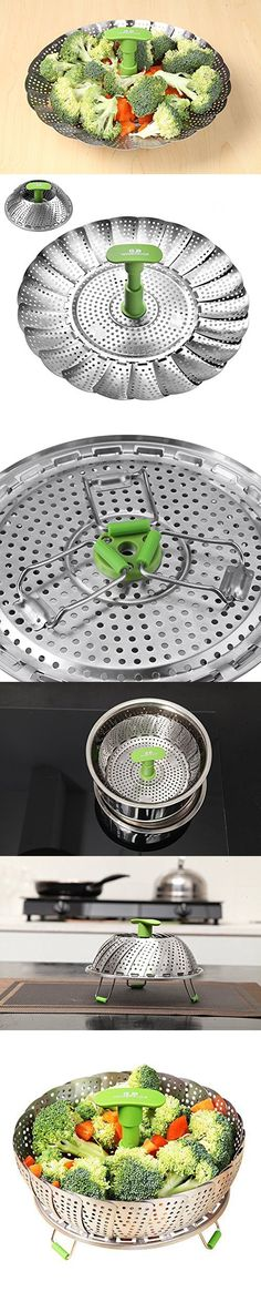 GA Homefavor Foldable Vegetable Steamer Basket Stainless Steel Cook Utensil with Extendable Handle