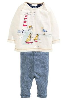 Buy Blue/Neutral Boat Scene Two Piece Set (0mths-2yrs) online today at Next: Hungary