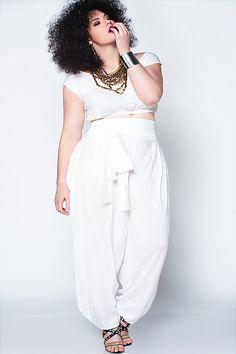 JIBRI Plus Size High Waist White Slouch Pant