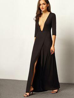 Black Deep V Neck Split Maxi Dress
