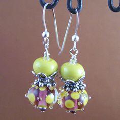 Lacey Earrings  Lampwork Glass Bead Sterling by StoneStreetStudio, $38.00