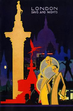London Days and Nights, 1931 Vintage  travel Poster