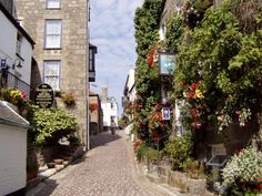 A wall of flowers in St. Ives, Cornwall, England