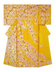 "Cherry Blossoms in Full Bloom"" Kimono created and named by Love Sayo. Winner of The Association Award at the Annual Meeting of the Japanese textile artist Exhibition award. Motif Kimono, Kimono Design, Kimono Pattern, Kimono Fabric, Japanese Outfits, Japanese Fashion, Asian Fashion, Japanese Textiles, Japanese Patterns"