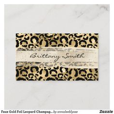 Faux Gold Foil Leopard Champagne Brush Stroke Business Card Champagne, Online Gifts, Zazzle Invitations, Brush Strokes, Gold Foil, Animal Print Rug, Business Cards, Personalized Gifts, Create Yourself
