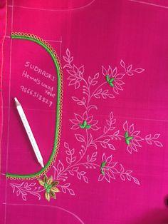 Border Embroidery Designs, Kurti Embroidery Design, Hand Work Embroidery, Hand Embroidery Stitches, Embroidery Dress, Embroidered Blouse, Gold Embroidery, Embroidery Patterns, Best Blouse Designs