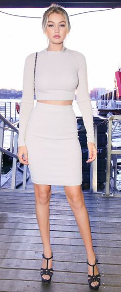 Gigi Hadid~ love this two piece dress~ not the shoes