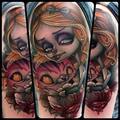Alice in Wonderland tattoo by Kelly Doty