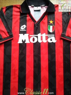 Relive AC Milan's 1993/1994  season with this vintage Lotto home football shirt.