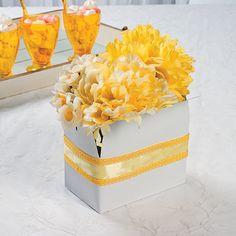 sunshine in a box Handmade Flowers, Diy Flowers, Paper Flowers, Yellow Flowers, Wedding Flowers, Sunshine Birthday Parties, Box Of Sunshine, Flower Centerpieces, Centerpiece Ideas