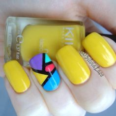 Neon yellow base with a neon color blocking accent nail.