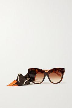 Linda Farrow - Dunaway Oversized Round-frame Acetate Sunglasses With Detachable Scarf - Tortoiseshell 70s Sunglasses, Sunglasses Accessories, Women Accessories, Giraffe Print, Round Frame, Personal Shopping, Linda Farrow, Tortoise Shell, World Of Fashion