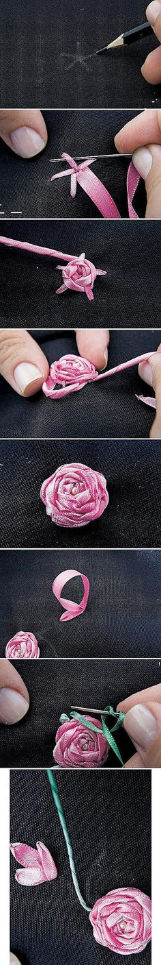 Embroidery ribbon roses Embroidery Patterns, Flower Crafts, Ribbons, Roses, Embroidery Stitches, Diy, Teen Crafts, Stitch Patterns, Ribbon Flower