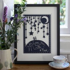 'love you to the moon' picture or papercut by mimi & mae   notonthehighstreet.com