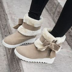 Z Womens Fur Lined Ankle Calf Winter Snow Boots Faux Suede Bowknot Warm Shoes Winter Shoes For Women, Snow Boots Women, Shoes Women, Wedge Ankle Boots, High Heel Boots, High Heels, Low Boots, Suede Creepers, Cute Boots