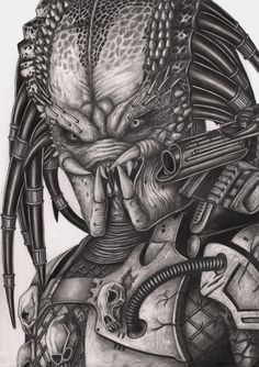 A graphite drawing of the 'predator' which I done to compliment my 'Alien' drawing [link]. The predator along with alot of other classic sci-fi films fr. Alien Drawings, Dark Art Drawings, Graphite Drawings, Cool Drawings, Pencil Drawings, Alien Vs Predator, Predator Alien, Horror Drawing, Horror Art