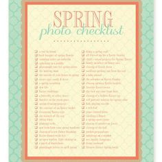 Spring photo checklist
