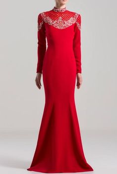 SAIID KOBEISY on Sale: Red Mermaid Cut Dress with a High Neck Buy from Best selection of authentic designer dresses online. Saiid Kobeisy, Strapless Jumpsuit, Mermaid Skirt, Dress Cuts, Modest Dresses, Formal Gowns, Fitted Bodice, Dresses Online, Designer Dresses
