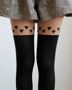 """Hearts Thigh High Stockings/ Tights/ Pantyhose  One Size  hip: 33.5-40.5"""" (85-103cm)  height: 4'11""""-5'74"""" (150cm~175cm)  (with no paper package)"""