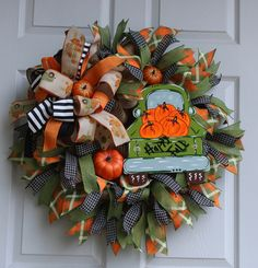 Fall Wreath For Door Best Fall Wreath Front Door Wreath Autumn Wreaths For Front Door, Front Door Decor, Fall Wreaths, Christmas Wreaths, Mesh Wreaths, Christmas Stuff, Vintage Christmas Lights, Indoor Wreath, Fall Deco Mesh