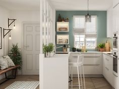 En baldakin til at adskille indgangen og køkkenet - Melly Joe Contemporary Kitchen Design, Modern Bedroom Design, Flat Interior, Interior Design, Pastel Home Decor, Farmhouse Flooring, Glass Roof, Home Staging, Home Renovation