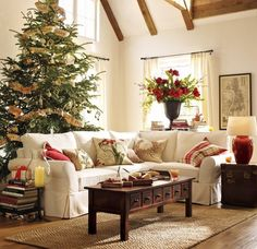 Awesome White Living Room with Christmas Tree and Ornamental Plant