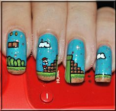 Super Mario themed nail art