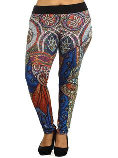 Plus Size Hot Stained Glass Leggings, Plus Size Clothing, Club Wear, Dresses, Tops, Sexy Trendy Plus Size Women Clothes