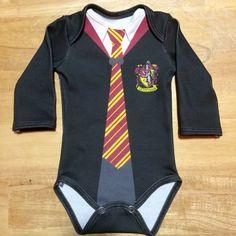 Harry Potter Newborn LongSleeve Gryffindor Onesie by InkandSpool