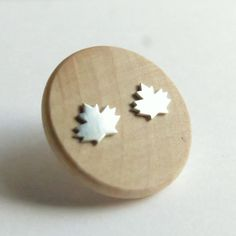 Sterling Silver hand cut Maple Leaf Silhouette Studs