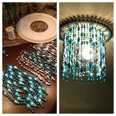 Made a light bulb cover for our master closet from a ceiling medallion and NOLA Mardi gras beads! Love the way it turned out!!!