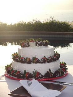 Simple 2-layer wedding cake with chocolate covered strawberries.