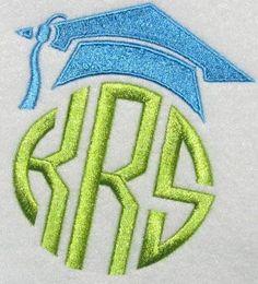 Graduation Cap Frame Embroidery Design | Apex Embroidery Designs, Monogram Fonts & Alphabets