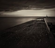 Black and White jetty with long exposure