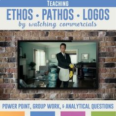 Teaching Ethos, Pathos, and Logos with Commercials: engage students and work with cooperative groups to understand ethos, pathos, and logos. Argumentative Writing, Persuasive Writing, High School Classroom, Flipped Classroom, Classroom Ideas, Middle School Reading, Writing Lessons, Writing Skills, Thinking Skills