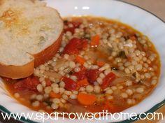Mayim Bialik's Tomato Soup with Israeli Couscous   www.sparrowsathome.com   VEGAN