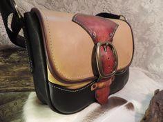 Striking handmade medium size ladies purse.Vintage 1970s buckle closure by RoundOakLeather on Etsy