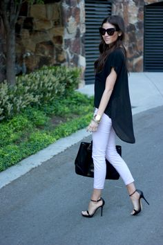 Fabulous black + white outfit with cropped pants.