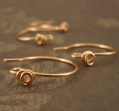 1 Pair Rosebud Ear Wires in 14kt Rose Gold by UnkamenSupplies, $10.00