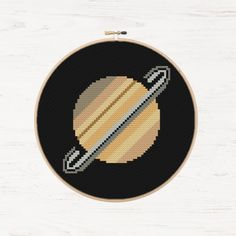 Saturn Cross Stitch Planets Pattern Modern Cross Stitch Pattern Space NASA Solar System  Cross Stitch Instant Download PDF Science Art Gift - pinned by pin4etsy.com