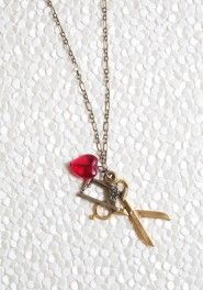 i love to sew charm necklace