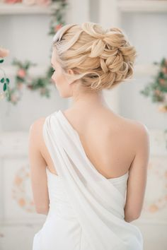 curly wedding bridal updo hairstyle for long hair