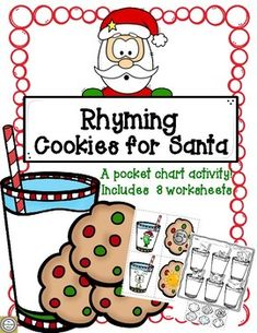 Christmas Rhyming Cookies for Santa by The Teacherific Ways Christmas Activities, Summer Activities, Reading Resources, Teacher Resources, Rhyming Pictures, Phonological Awareness, Picture Cards, Literacy Centers, Student Learning