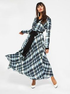 358571ec491 STORE WF Check Print V Neck Maxi Dress Modest Loose Fit Long Dress with  Sleeves